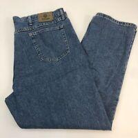 Wrangler Denim Jeans Mens 42X32 Blue Straight Leg 100% Cotton Medium Washed