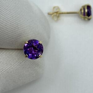 NATURAL Vivid Deep Purple Amethyst Yellow Gold Round Diamond Cut Earring Studs