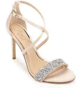 Jewel Badgley Mischka Nanna Women Cross Strap Sandals Size 8.5M Champagne Satin