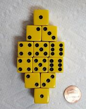 DICE SALE - 16mm OPAQUE YELLOW WITH BLACK PIPS! ONE DOZEN!