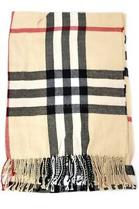 Plaid Scarves Fringe Scarf Winter Warm Wrap Soft Womens Long Shawl Blanket Mens