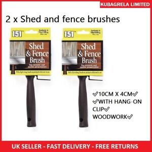 2 x SHED & FENCE WOOD PAINT BRUSH - Emulsion Decking Vinyl & Synthetic filling