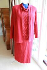 Size 14 Aspens Smart Red 3 piece suede look suit jacket blouse & calf leng skirt