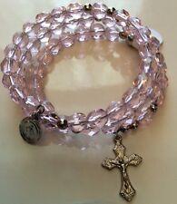 Pink Handmade Beaded Memory Wire Rosary Bracelet Beautiful!