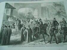 Gravure 1861 - Départ de Constantinople de la Caravanepour aller à la Mecque