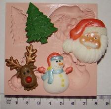 Silicona Molde árbol de Navidad Rudolph Muñeco De Nieve Santa Pastel Cupcake Sugarcraft Fimo