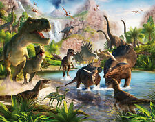 Fototapete Dinosaurier 3D Optik Dinos Urzeit Raumtapete Tapete + Tapetenkleister