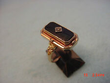 Vintage 10KT Yellow Gold Shell Cameo/Black Onyx Flip Ring With Box Rare