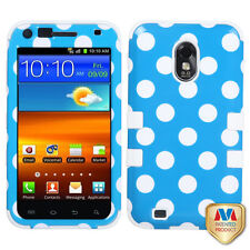 US Cellular Samsung Galaxy S II 2 IMPACT TUFF HYBRID Case Cover Blue White Dots