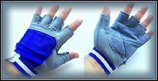 Leather Weight Lifting Gloves Wrist Wrap Exercise Training Gym, Medium & Large