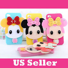 iPhone Case Minnie Cartoon Built in Slider Mirror Case Cover for iPhone 4 4s
