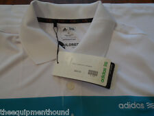 New White Aqua Adidas Stripe Climacool Tailored Golf Polo Med Msrp $55 Nwt