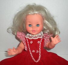 Blonde Furga Doll With Sleepy Eyes Red Dress from Italy