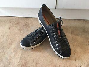 PRADA Low Top Leather Sneakers Black & White Men 100% Authentic SZ 11 Nice Cond!