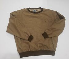 Ralph Lauren Polo Golf Mens Brown Plaid Lined Pullover Wind Pony Sweater XL