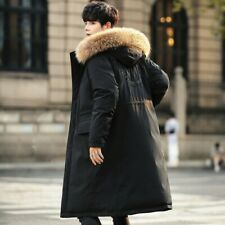 Winter Men's Hooded Mid Length Puffer Coat Loose Fit Thickened Duck Down Jacket