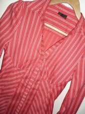 Next Coral Red Fitted Shirt Blouse with White Stripes Formal / Office Size 8 10