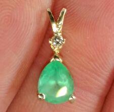 1ct Natural Mined Columbian Emerald & Diamond Pendant - Solid 14K Gold