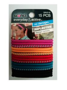 Scunci - Everyday & Active - 15 Piece Multi-Color Reflective Hair Tie 39943-W