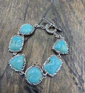 Barse Wrapture Toggle Bracelet- Turquoise & Silver Overlay- NWT