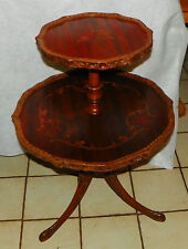 Mahogany Carved Inlaid 2 Tier Dumbwaiter Table / Parlor Table  (T358)