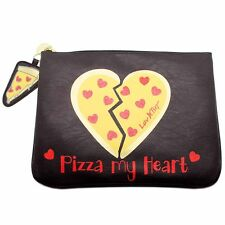 """NEW LUV BETSEY by BETSEY JOHNSON Black """"PIZZA MY HEART"""" Tech Pouch Bag -50% OFF"""