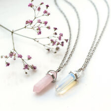 Opalite Crystal Bullet Stone Necklace-Vintage Silver-Hippy-Healing Opal Boho