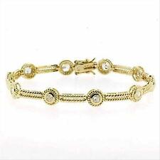 18K Gold over 925 Silver CZ Circle & Textured Bar Bracelet