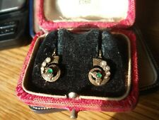 ANTIQUE VICTORIAN 9CT GOLD EMERALD AND PEARL EARRINGS