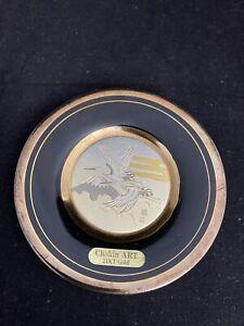 The Art of Chokin Vintage Gilded 24kt Gold Porcelain Plate, Stork, made in Japan