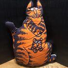 Vintage B Kliban Cat Stuffed Pillow Mama Cat Orange Kangaroo 18 inches