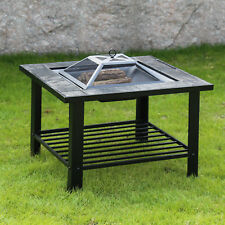 New listing 30'' Garden Outdoor Fire Pit Bbq Grill Brazier Square Stove Patio Heater Firepit
