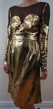 Vestido de noche ISSA London Hermoso de oro y negro manga larga/cóctel Talla: UK8