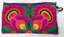 Sam Well Embroidered Clutch Bag Boho Tapestry Brocade Make Up Case Zipper Top