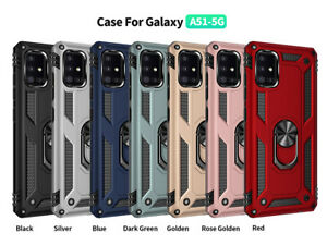 For Samsung Galaxy A51 5G Case, Ring Kickstand Cover+Tempered Glass Protector