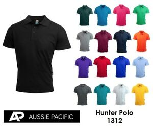 Aussie Pacific Mens Poly/Cotton Hunter Polo 1312 ALL COLOURS S-3XL + 5XL 7XL