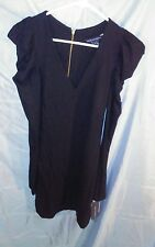 FRENCH CONNECTION V-Neck Long Ruched Sleeve Black Dress sz 4 NWT