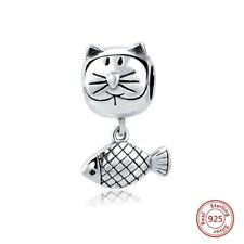 925 argento Gatto/Kitty/GATTINO E PESCI Dangle Charm Bead Compleanno Regalo San Valentino