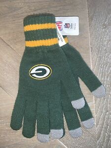 NEW NFL Football Green Bay Packers Gloves Knit Adult Size One Size Aaron Rodgers