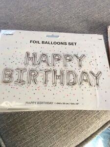 Shiny Silver Happy Birthday Air Fill Foil Balloon Kit. Easy To Inflate 340x 35cm
