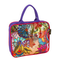 Laurel Burch Harmony Under Sun Large Foiled Canvas Cosmetic Bag Makeup Bag