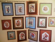 16 Hummel Cross Stitch Patterns Sewing Reading Book Postman Swan Frog Rabbits