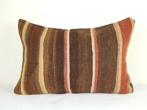 "Turkish Tribal Decorative Kilim Lumbar Pillow Case, Couch Pillow, 16"" X 24"""