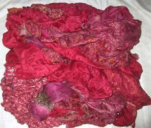 LOT PURE SILK Antique Vintage Sari REMNANT Fabrics 100 GRAMS CRAFT DOLL QUILT 12