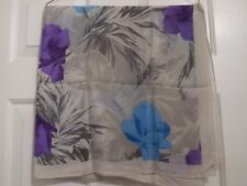 """TERRIART Floral Blue,Purple,Neutral on Off-White 33"""" Sq Scarf-Vintage - TRACY"""
