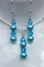 Women's Sky Blue Glass Pearl Earring & Necklace Set Dangle -Handmade In Tasmania
