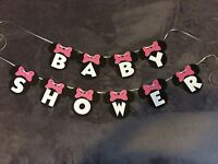 """Minnie Mouse """"Baby Shower"""" Banner. Polka Dot Bows"""