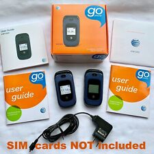 (2) At&T Z222 GoPhone Cool Blue Cellular Flip Phones Charger Working - No Sims