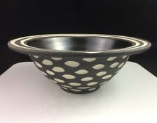 "Vintage Larry Halvorsen Ceramic Brown 8""x3"" Bowl w/ Sgraffito dated 2002"