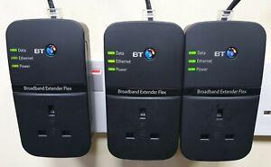 3 x BT Broadband Extender Flex 500 Passthrough Powerline Adapters + 3 Ethernet!